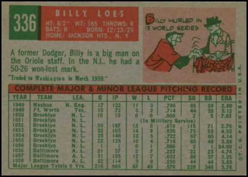 1959 topps 336A billy loes with trade statement back