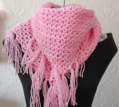 399 - Pink Triangle Fringe Scarf (4)