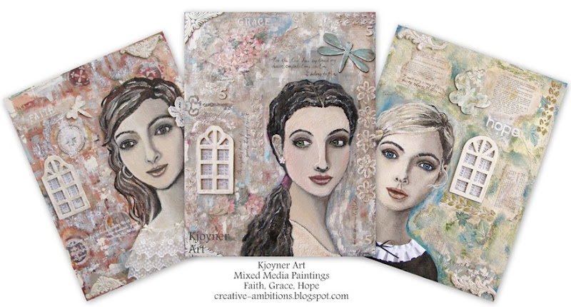 Kjoyner Art Mixed Media Girl Paintings