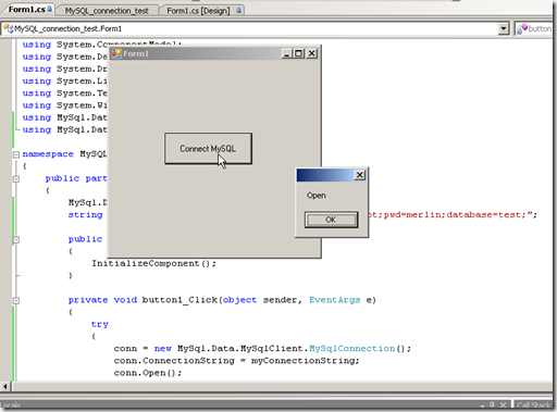 ทดสอบการรัน การติดต่อ MySQL ผ่าน mysql connector