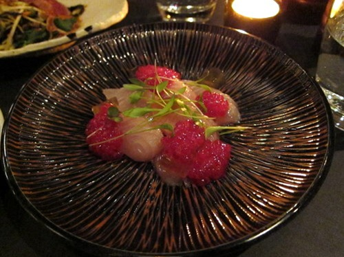 South Australia Yellow-tail Kingfish sashimi with dashi jelly, rhubarb & wasabi tapioca