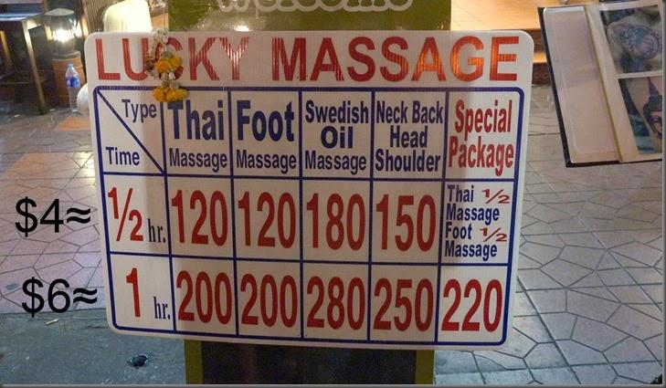 thai massage prices bangkok