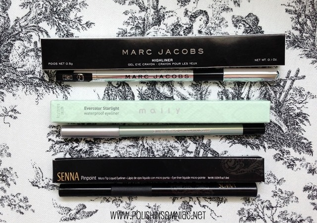 Favorite Black Eyeliners - Marc Jacobs Highliner Gel Crayon in Blacquer, Mally Evercolor Starlight Waterproof Eyeliner in Midnight, Senna Pinpoint Micro Tip Liquid Eyeliner in Black
