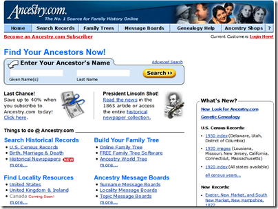 The appearance of Ancestry.com in 2002
