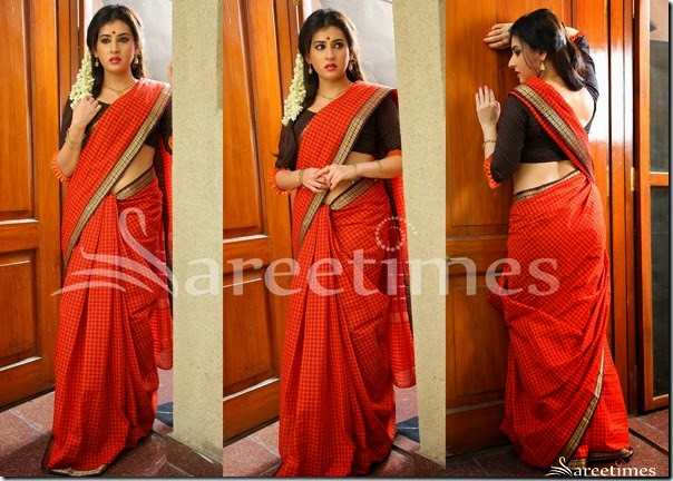 Archana_Peach_Red_Cotton_Saree