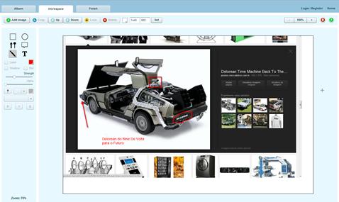 Tela de edição de imagem do Pixtick