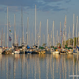 Sail Boats in the Harbor at Bayfield / Wisconsin