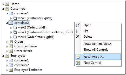 Adding a data view to a page container in a web app created with Code On Time application generator