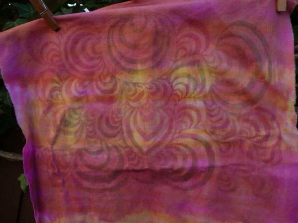 Swirls monoprint pink 1