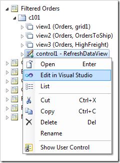 Edit the user control in Visual Studio via the context menu option in the Project Explorer.
