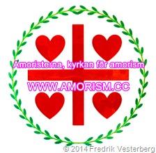 DSC09539 (1) Amoristerna standar flagga röd grön vit (1) bättrad färg 3 logotyp text Amoristerna kyrkan för amorism