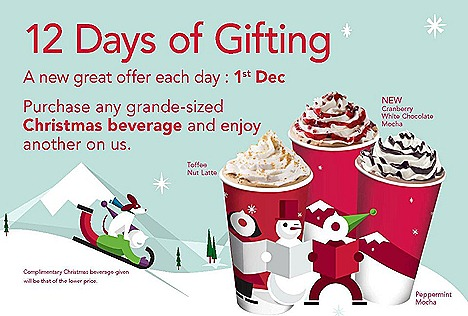 Starbucks Christmas beverage Toffee Nut Latte, Peppermint Mocha, Cranberry White Chocolate Mocha – hot, iced or Frappuccino