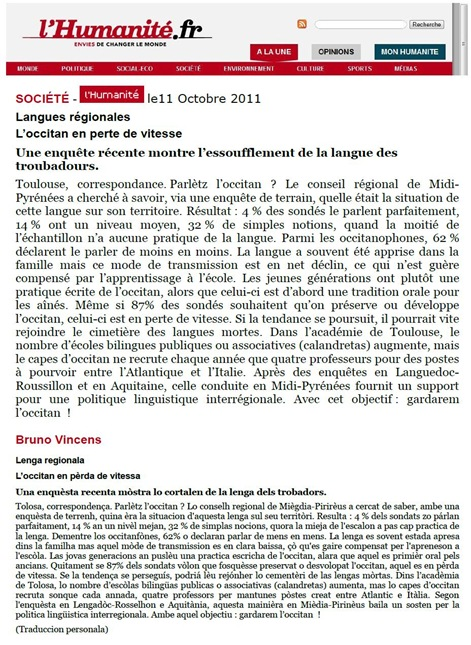 L'Occitan dins L'Humanité 121011