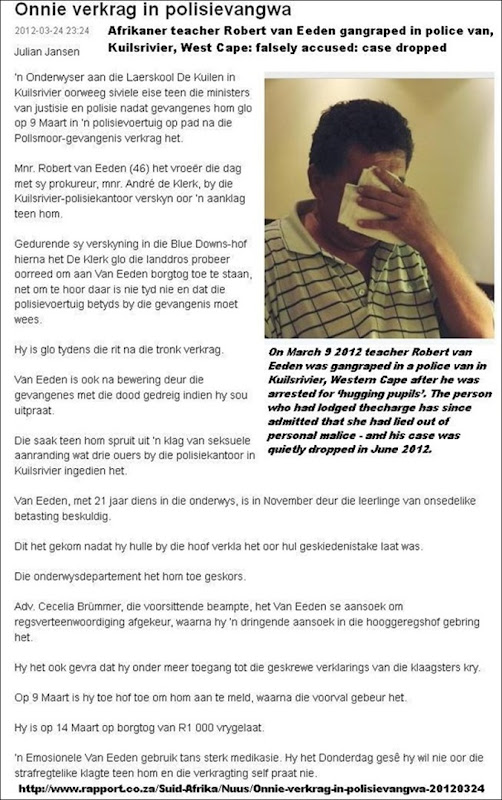 VAN EEDEN Robert 46 raped in Kuilsriver POLICE VAN after false accusation of hugging pupils