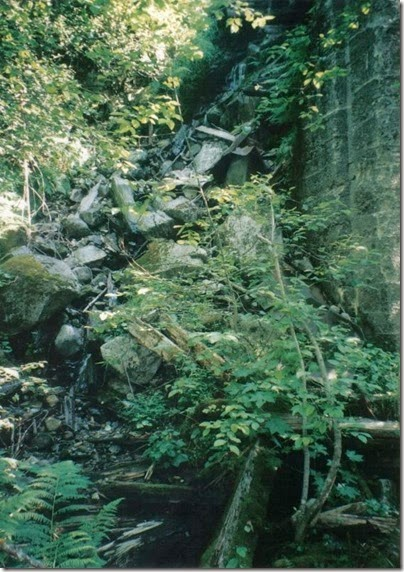 Stream at the End of the Concrete Wall at Milepost 1715.08 on the Iron Goat Trail in 1998