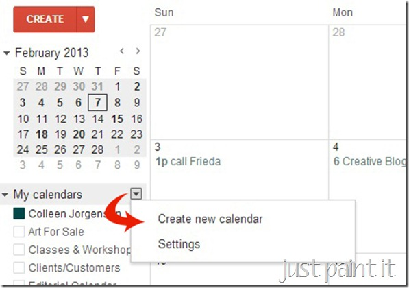 create new calendar copy