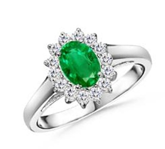 Oval Emerald and Diamond Vintage Ring