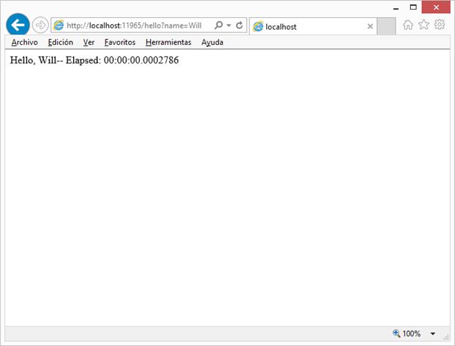 Stopwatch middleware en ejecución
