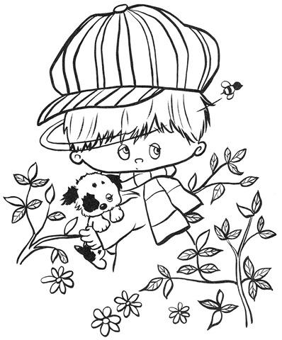 desenhos-colorir-garoto-com-cachorro
