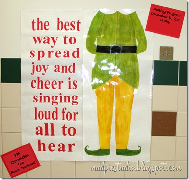 Elf bulletin board idea from mudpiereviews.blogspot.com #holiday #Christmas #school #music