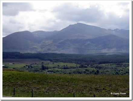 Aonoch Mor with Ben Nevis hidden in cloud to the right.