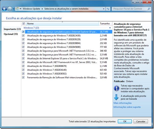 Atualizações do Windows 7 - 12/06/2013