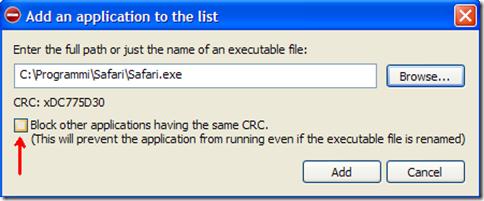 Process Blocker aggiungere programma o processo Windows da bloccare