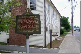 Earliest Church marker in Stanford, KY in front of Old Presbyterian Meeting House