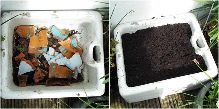 How to make a fairy garden, filling with compost
