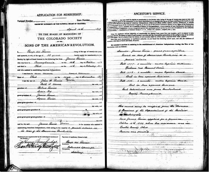 George M Irwin SAR Application 2