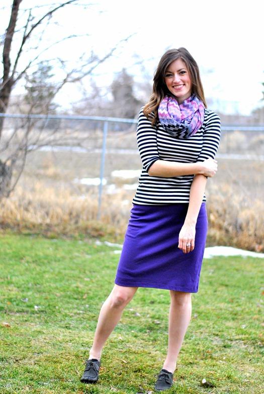 purple pencil skirt + stripes