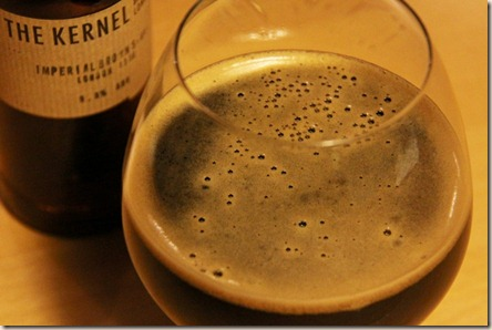 The Kernel brown imp stout foamy glass 2