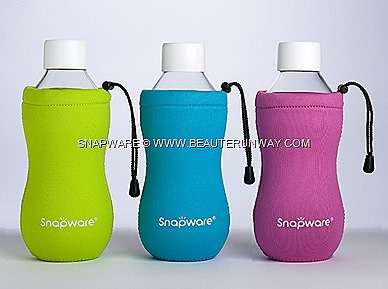 World Kitchen SNAPWARE Eco Flip Bottle and Eco Grip Bottle ergonomic design range patented  two-part leak-proof  cap system with 100%  airtight  storage leakproff system   green,  cyan  tangerine magenta