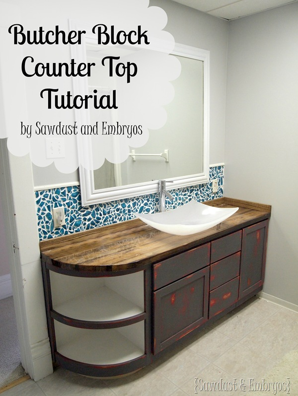 DIY Butcher Block Counter Tutorial www.sawdustandembryos