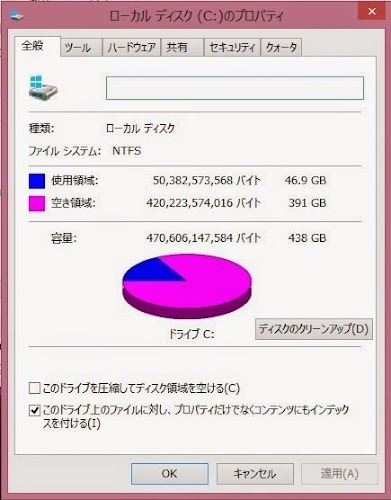 WindowsのHDD確認画面