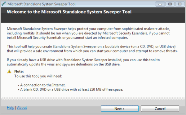 Microsoft Standalone System Sweeper: Removes Malware and fixes Windows