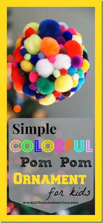 Christmas Ornament Craft for Kids- This Simple Colorful Pom Pom Christmas Craft for Kids will be a huge hit with your preschool, kindergarten, and elementary age kids.