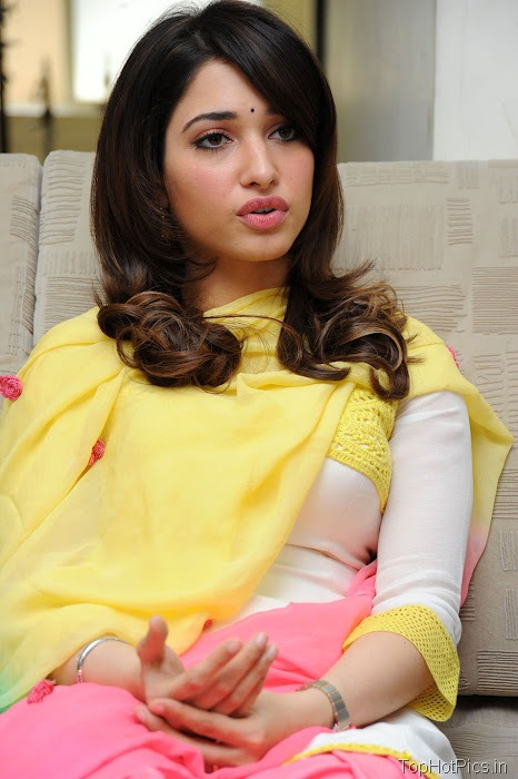Tamanna Hot in Yellow Indian Dress photos 3