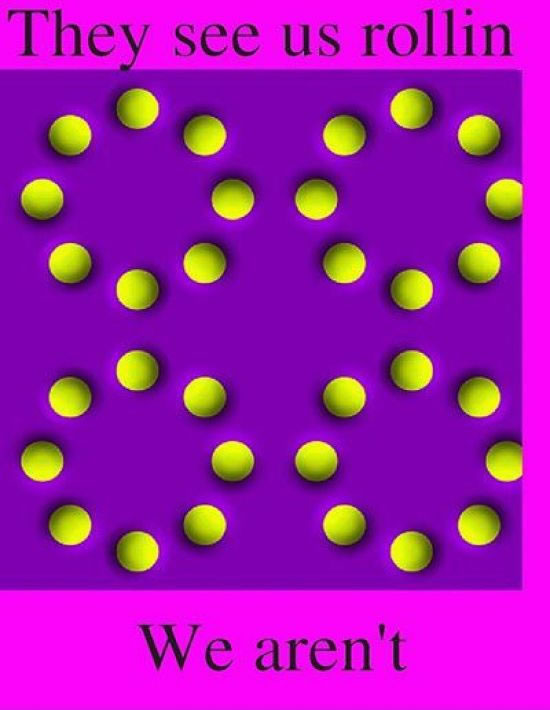 Optical illusion where dots appear to roll, but arent