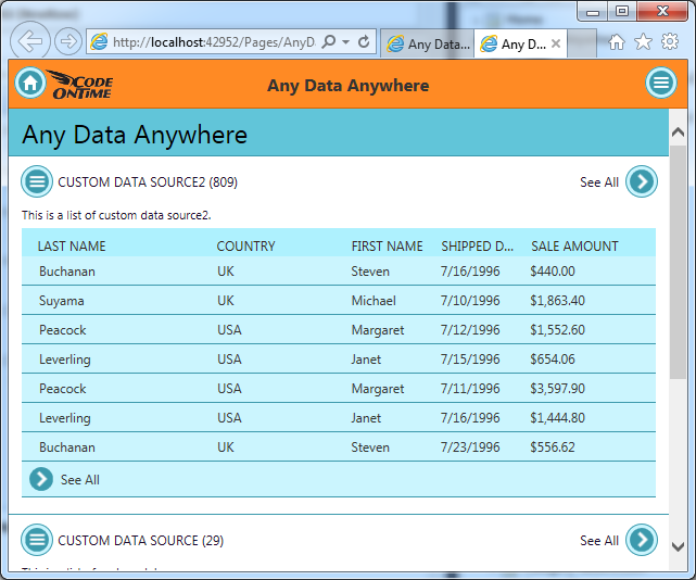 A data controller based on a stored procedure displayed in Touch UI application created with Code On Time.