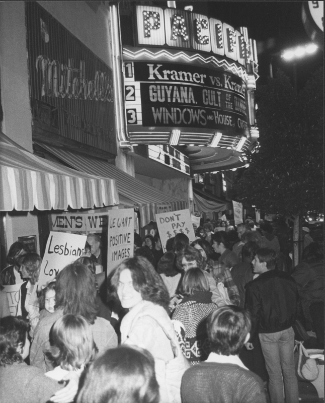 "Protesters picket the movie ""Windows."" This demostration was one of a number of protests concerning the misrepresentation of the LGBT community by Hollywood.1980."