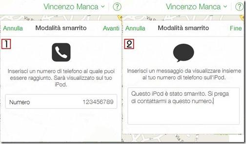 Modalità smarrito iPhone digitare numero e messaggio