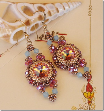 Rose Peach Shimmer Swarovski Crystal Rivoli Beaded Bezel Earrings Pacific Opal indian pink ab2x deborah roberti antique earrings