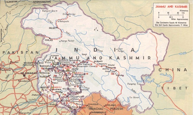 Map of the Indian State of Jammu and Kashmir