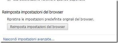 Reimposta impostazioni del browser Chrome