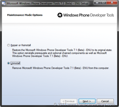 WP7.1 Mango SDK Beta 2 Installation Screen 5