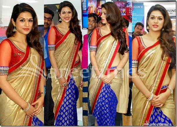 Shraddha_Das_Gold_Blue_Half_and_Half_Saree