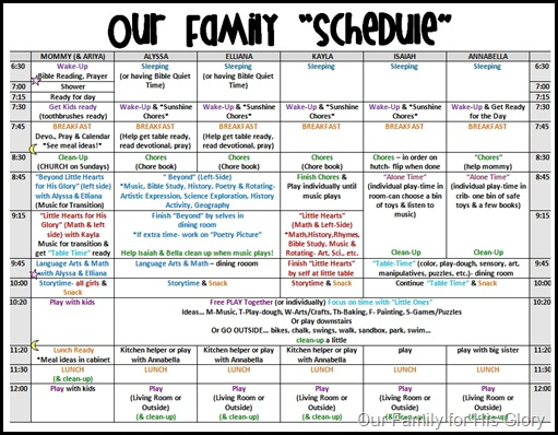 family weekly schedule template
