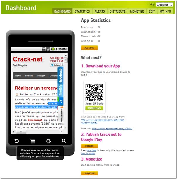 cr er gratuitement une application android pour votre blog crack net. Black Bedroom Furniture Sets. Home Design Ideas