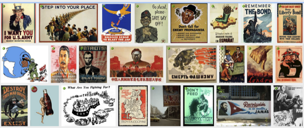 Subject is propaganda posters